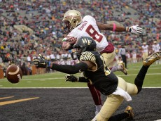 WINSTON SALEM, NC - OCTOBER 03:  Jalen Ramsey #8 of the Florida State Seminoles defends a pass to Cortez Lewis #15 of the Wake Forest Demon Deacons in the end zone during their game at BB&T Field on October 3, 2015 in Winston Salem, North Carolina. Florida State won 24-16.  (Photo by Grant Halverson/Getty Images)