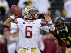 WINSTON SALEM, NC - OCTOBER 03: Everett Golson #6 of the Florida State Seminoles drops back to pass against the Wake Forest Demon Deacons during their game at BB&T Field on October 3, 2015 in Winston Salem, North Carolina. Florida State won 24-16.  (Photo by Grant Halverson/Getty Images)
