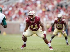 TALLAHASSEE, FL - SEPTEMBER 12: DeMarcus Walker #44 of the Florida State Seminoles in action against the South Florida Bulls during the game at Doak Campbell Stadium on September 12, 2015 in Tallahassee, Florida. Florida State defeated South Florida 34-14. (Photo by Joe Robbins/Getty Images)