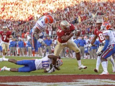 TALLAHASSEE, FL - NOVEMBER 27: Lonnie Pryor #24 of the Florida State Seminoles rushes for a touchdown during a game against the Florida Gators at Doak Campbell Stadium on November 27, 2010 in Tallahassee, Florida.  (Photo by Mike Ehrmann/Getty Images)
