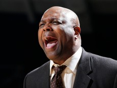 SOUTH BEND, IN - DECEMBER 13: Head coach Leonard Hamilton of the Florida State Seminoles reacts against the Notre Dame Fighting Irish during the first half of the game at Purcell Pavilion on December 13, 2014 in South Bend, Indiana. (Photo by Joe Robbins/Getty Images)