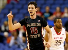 GREENSBORO, NC - MARCH 13:  Boris Bojanovsky #15 of the Florida State Seminoles reacts after making a basket against the Maryland Terrapins during the second round of the 2014 Men's ACC Basketball Tournament at Greensboro Coliseum on March 13, 2014 in Greensboro, North Carolina.  (Photo by Streeter Lecka/Getty Images)