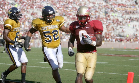 Florida State running back Antone Smith (6) runs past Chattanooga defenders Chris Lewis-Harris, (6) and Doug Faatiliga (52) for a touchdown during the first half at Doak Campbell Stadium in Tallahassee, Florida, on Saturday, September 13, 2008.  (Photo by Gary W. Green/Orlando Sentinel/MCT via Getty Images)