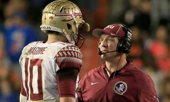GAINESVILLE, FL - NOVEMBER 28:  Head coach Jimbo Fisher of the Florida State Seminoles speaks with Sean Maguire #10 during the game against the Florida Gators at Ben Hill Griffin Stadium on November 28, 2015 in Gainesville, Florida.  (Photo by Sam Greenwood/Getty Images)