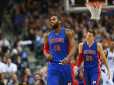 DALLAS, TX - JANUARY 07:  Greg Monroe #10 of the Detroit Pistons during play against the Dallas Mavericks at American Airlines Center on January 7, 2015 in Dallas, Texas.   NOTE TO USER: User expressly acknowledges and agrees that, by downloading and or using this photograph, User is consenting to the terms and conditions of the Getty Images License Agreement.  (Photo by Ronald Martinez/Getty Images)