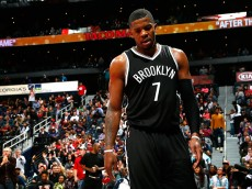 ATLANTA, GA - JANUARY 28:  Joe Johnson #7 of the Brooklyn Nets reacts after a timeout during the game against the Atlanta Hawks at Philips Arena on January 28, 2015 in Atlanta, Georgia.  NOTE TO USER: User expressly acknowledges and agrees that, by downloading and or using this photograph, User is consenting to the terms and conditions of the Getty Images License Agreement.  (Photo by Kevin C. Cox/Getty Images)