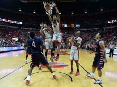 LAS VEGAS, NV - FEBRUARY 10:  Christian Wood #5 of the UNLV Rebels dunks in front of Karachi Edo #4 of the Fresno State Bulldogs during their game at the Thomas & Mack Center on February 10, 2015 in Las Vegas, Nevada. UNLV won 73-61.  (Photo by Ethan Miller/Getty Images)
