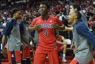 LAS VEGAS, NV - DECEMBER 23:  Stanley Johnson #5 of the Arizona Wildcats is introduced before a game against the UNLV Rebels at the Thomas & Mack Center on December 23, 2014 in Las Vegas, Nevada. UNLV won 71-67.  (Photo by Ethan Miller/Getty Images)