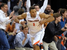 CHARLOTTESVILLE, VA - JANUARY 31: Justin Anderson #1 of the Virginia Cavaliers reacts following a shot against the Duke Blue Devils at John Paul Jones Arena on January 31, 2015 in Charlottesville, Virginia. (Photo by Lance King/Getty Images)