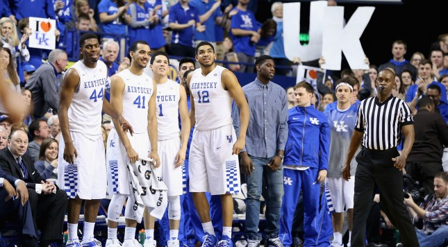 LEXINGTON, KY - FEBRUARY 14:  The Kentucky Wildcats bench watches the action during the game against the South Carolina Gamecocks at Rupp Arena on February 14, 2015 in Lexington, Kentucky.  (Photo by Andy Lyons/Getty Images)