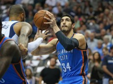 DALLAS, TX - MARCH 16:  Enes Kanter #34 of the Oklahoma City Thunder at American Airlines Center on March 16, 2015 in Dallas, Texas.  NOTE TO USER: User expressly acknowledges and agrees that, by downloading and or using this photograph, User is consenting to the terms and conditions of the Getty Images License Agreement.  (Photo by Ronald Martinez/Getty Images)