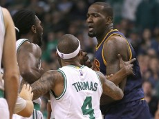 BOSTON, MA - APRIL 26: Kendrick Perkins #3 of the Cleveland Cavaliers and Jae Crowder #99 of the Boston Celtics have words in the first half in Game Four during the first round of the 2015 NBA Playoffs on April 26, 2015 at TD Garden in Boston, Massachusetts. (Photo by Jim Rogash/Getty Images)