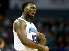 CHARLOTTE, NC - NOVEMBER 26:  P.J. Hairston #19 of the Charlotte Hornets reacts after a play during their game against the Portland Trail Blazers at Time Warner Cable Arena on November 26, 2014 in Charlotte, North Carolina.  NOTE TO USER: User expressly acknowledges and agrees that, by downloading and or using this photograph, User is consenting to the terms and conditions of the Getty Images License Agreement.  (Photo by Streeter Lecka/Getty Images)
