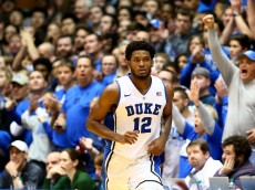 DURHAM, NC - DECEMBER 15:  Justise Winslow #12 of the Duke Blue Devils during their game at Cameron Indoor Stadium on December 15, 2014 in Durham, North Carolina.  (Photo by Streeter Lecka/Getty Images)