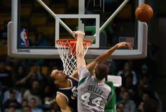 BOSTON, MA - MARCH 04:  Rudy Gobert #27 of the Utah Jazz blocks a shot from Tyler Zeller #44 of the Boston Celtics during the second half at TD Garden on March 4, 2015 in Boston, Massachusetts. The Celtics defeat the Jazz 85-84. NOTE TO USER: User expressly acknowledges and agrees that, by downloading and/or using this photograph, user is consenting to the terms and conditions of the Getty Images License Agreement.  (Photo by Maddie Meyer/Getty Images)