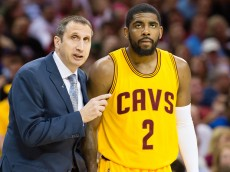 CLEVELAND, OH - MAY 6: Head coach David Blatt of the Cleveland Cavaliers talks with Kyrie Irving #2 in the first half against the Chicago Bulls during Game Two in the Eastern Conference Semifinals of the 2015 NBA Playoffs 2015 at Quicken Loans Arena on May 6, 2015 in Cleveland, Ohio. NOTE TO USER: User expressly acknowledges and agrees that, by downloading and or using this photograph, User is consenting to the terms and conditions of the Getty Images License Agreement. (Photo by Jason Miller/Getty Images)