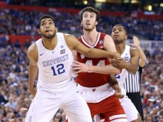 INDIANAPOLIS, IN - APRIL 04: Frank Kaminsky #44 of the Wisconsin Badgers battles for position on a against Karl-Anthony Towns #12 and Aaron Harrison #2 of the Kentucky Wildcats in the second half during the NCAA Men's Final Four Semifinal at Lucas Oil Stadium on April 4, 2015 in Indianapolis, Indiana.  (Photo by Streeter Lecka/Getty Images)
