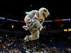 MINNEAPOLIS, MN - NOVEMBER 21: Crunch, the mascot for the Minnesota Timberwolves performs during the game against the San Antonio Spurs on November 21, 2014 at Target Center in Minneapolis, Minnesota. The Spurs defeated the Timberwolves 121-92. NOTE TO USER: User expressly acknowledges and agrees that, by downloading and or using this Photograph, user is consenting to the terms and conditions of the Getty Images License Agreement. (Photo by Hannah Foslien/Getty Images)