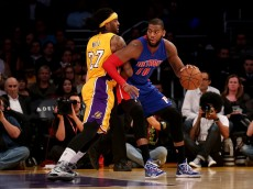 the Detroit Pistons the Los Angeles Lakers at Staples Center on March 10, 2015 in Los Angeles, California.     NOTE TO USER: User expressly acknowledges and agrees that, by downloading and or using this photograph, User is consenting to the terms and conditions of the Getty Images License Agreement.  (Photo by Stephen Dunn/Getty Images)