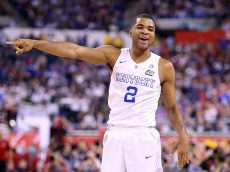 INDIANAPOLIS, IN - APRIL 04: Aaron Harrison #2 of the Kentucky Wildcats reacts in the second half against the Wisconsin Badgers during the NCAA Men's Final Four Semifinal at Lucas Oil Stadium on April 4, 2015 in Indianapolis, Indiana.  (Photo by Andy Lyons/Getty Images)