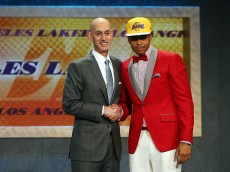 NEW YORK, NY - JUNE 25: D'Angelo Russell poses with Commissioner Adam Silver after being drafted second overall by the Los Angeles Lakers in the First Round of the 2015 NBA Draft at the Barclays Center on June 25, 2015 in the Brooklyn borough of  New York City. NOTE TO USER: User expressly acknowledges and agrees that, by downloading and or using this photograph, User is consenting to the terms and conditions of the Getty Images License Agreement.  (Photo by Elsa/Getty Images)