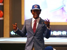 NEW YORK, NY - JUNE 25:  Stanley Johnson celebrates after being selected eighth overall by the Detroit Pistons in the First Round of the 2015 NBA Draft at the Barclays Center on June 25, 2015 in the Brooklyn borough of  New York City. NOTE TO USER: User expressly acknowledges and agrees that, by downloading and or using this photograph, User is consenting to the terms and conditions of the Getty Images License Agreement.  (Photo by Elsa/Getty Images)