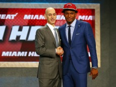 NEW YORK, NY - JUNE 25: Justise Winslow poses with Commissioner Adam Silver after being selected tenth overall by the Miami Heat in the First Round of the 2015 NBA Draft at the Barclays Center on June 25, 2015 in the Brooklyn borough of  New York City. NOTE TO USER: User expressly acknowledges and agrees that, by downloading and or using this photograph, User is consenting to the terms and conditions of the Getty Images License Agreement.  (Photo by Elsa/Getty Images)