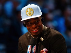 NEW YORK, NY - JUNE 25:  Emmanuel Mudiay speaks to the media after being selected seventh overall by the Denver Nuggets in the First Round of the 2015 NBA Draft at the Barclays Center on June 25, 2015 in the Brooklyn borough of  New York City. NOTE TO USER: User expressly acknowledges and agrees that, by downloading and or using this photograph, User is consenting to the terms and conditions of the Getty Images License Agreement.  (Photo by Elsa/Getty Images)