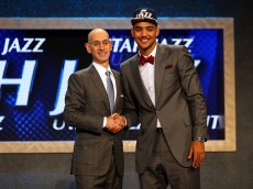 NEW YORK, NY - JUNE 25:  Trey Lyles poses with Commissioner Adam Silver after being selected 12th overall by the Utah Jazz in the First Round of the 2015 NBA Draft at the Barclays Center on June 25, 2015 in the Brooklyn borough of  New York City. NOTE TO USER: User expressly acknowledges and agrees that, by downloading and or using this photograph, User is consenting to the terms and conditions of the Getty Images License Agreement.  (Photo by Elsa/Getty Images)