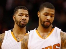 PHOENIX, AZ - DECEMBER 02:  (L-R) Markieff Morris #11 oand Marcus Morris #15 of the Phoenix Suns during the NBA game against the Indiana Pacers at US Airways Center on December 2, 2014 in Phoenix, Arizona.  NOTE TO USER: User expressly acknowledges and agrees that, by downloading and or using this photograph, User is consenting to the terms and conditions of the Getty Images License Agreement.  (Photo by Christian Petersen/Getty Images)