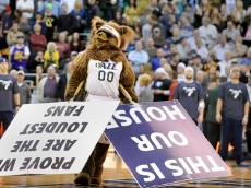 """SALT LAKE CITY, UT - NOVEMBER 5: """"Jazz Bear"""" the Utah Jazz mascot performs during their game against the Cleveland Cavaliers at EnergySolutions Arena on November 5, 2014 in Salt Lake City, Utah. NOTE TO USER: User expressly acknowledges and agrees that, by downloading and using this photograph, User is consenting to the terms and conditions of the Getty Images License Agreement. (Photo by Gene Sweeney Jr/Getty Images)"""