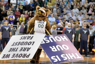 "SALT LAKE CITY, UT - NOVEMBER 5: ""Jazz Bear"" the Utah Jazz mascot performs during their game against the Cleveland Cavaliers at EnergySolutions Arena on November 5, 2014 in Salt Lake City, Utah. NOTE TO USER: User expressly acknowledges and agrees that, by downloading and using this photograph, User is consenting to the terms and conditions of the Getty Images License Agreement. (Photo by Gene Sweeney Jr/Getty Images)"