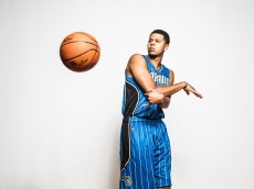 TARRYTOWN, NY - AUGUST 08: Tyler Harvey #1 of the Orlando Magic poses for a portrait during the 2015 NBA rookie photo shoot on August 8, 2015 at the Madison Square Garden Training Facility in Tarrytown, New York. NOTE TO USER: User expressly acknowledges and agrees that, by downloading and or using this photograph, User is consenting to the terms and conditions of the Getty Images License Agreement.(Photo by Nick Laham/Getty Images)