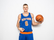 TARRYTOWN, NY - AUGUST 08:  Kristaps Porzingis #6 of the New York Knicks poses for a portrait during the 2015 NBA rookie photo shoot on August 8, 2015 at the Madison Square Garden Training Facility in Tarrytown, New York. NOTE TO USER: User expressly acknowledges and agrees that, by downloading and or using this photograph, User is consenting to the terms and conditions of the Getty Images License Agreement.   (Photo by Nick Laham/Getty Images)