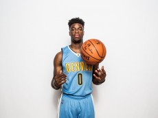 TARRYTOWN, NY - AUGUST 08:  Emmanuel Mudiay #0 of the Denver Nuggets poses for a portrait during the 2015 NBA rookie photo shoot on August 8, 2015 at the Madison Square Garden Training Facility in Tarrytown, New York. NOTE TO USER: User expressly acknowledges and agrees that, by downloading and or using this photograph, User is consenting to the terms and conditions of the Getty Images License Agreement.   (Photo by Nick Laham/Getty Images)