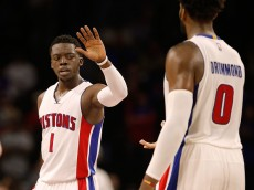 AUBURN HILLS, MI - OCTOBER 28: Reggie Jackson #1 and Andre Drummond #0 of the Detroit Pistons celebrate in the fourth quarter while playing the Utah Jazz at the Palace of Auburn Hills on October 28, 2015 in Auburn Hills, Michigan. Detroit won the game 92-87. NOTE TO USER: User expressly acknowledges and agrees that, by downloading and or using this photograph, User is consenting to the terms and conditions of the Getty Images License Agreement.  (Photo by Gregory Shamus/Getty Images)
