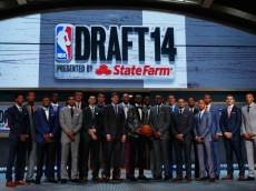 NEW YORK, NY - JUNE 26:  The top prospects of the 2014 class pose on stage during the 2014 NBA Draft at Barclays Center on June 26, 2014 in the Brooklyn borough of New York City. NOTE TO USER: User expressly acknowledges and agrees that, by downloading and/or using this Photograph, user is consenting to the terms and conditions of the Getty Images License Agreement.  (Photo by Mike Stobe/Getty Images)