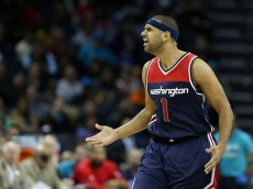 CHARLOTTE, NC - NOVEMBER 25:  Jared Dudley #1 of the Washington Wizards reacts after a play during their game against the Charlotte Hornets at Time Warner Cable Arena on November 25, 2015 in Charlotte, North Carolina.  NBA - NOTE TO USER: User expressly acknowledges and agrees that, by downloading and or using this photograph, User is consenting to the terms and conditions of the Getty Images License Agreement.  (Photo by Streeter Lecka/Getty Images)