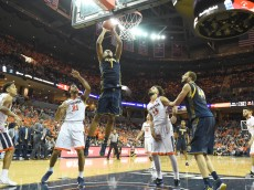 CHARLOTTESVILLE, VA - DECEMBER 22:  Ivan Rabb #1 of the California Golden Bears takes a shot during a college basketball game against the Virginia Cavaliers at John Paul Jones Arena on December 22, 2015 in Charlottesville, Virginia.  (Photo by Mitchell Layton/Getty Images)
