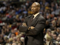 DENVER, CO - JANUARY 11:  Byron Scott of the Cleveland Cavaliers looks on against the Denver Nuggets at Pepsi Center on January 11, 2013 in Denver, Colorado.  NOTE TO USER: User expressly acknowledges and agrees that, by downloading and or using this Photograph, user is consenting to the terms and conditions of the Getty Images License Agreement.  (Photo by Chris Chambers/Getty Images)