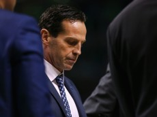 BOSTON, MA - NOVEMBER 13:   Assistant coach Kenny Atkinson of the Atlanta Hawks looks on during a timeout during the second half against the Boston Celtics at TD Garden on November 13, 2015 in Boston, Massachusetts. The Celtics defeat the Hawks 106-93. NOTE TO USER: User expressly acknowledges and agrees that, by downloading and/or using this photograph, user is consenting to the terms and conditions of the Getty Images License Agreement.  (Photo by Maddie Meyer/Getty Images)