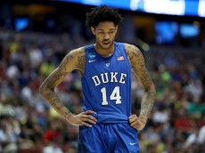 ANAHEIM, CA - MARCH 24:  Brandon Ingram #14 of the Duke Blue Devils looks down in the second half while taking on the Oregon Ducks in the 2016 NCAA Men's Basketball Tournament West Regional at the Honda Center on March 24, 2016 in Anaheim, California.  (Photo by Sean M. Haffey/Getty Images)