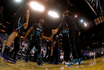 MIAMI, FL - MAY 01: Kemba Walker #15 of the Charlotte Hornets takes the floor during Game Seven of the Eastern Conference Quarterfinals of the 2016 NBA Playoffs against the Miami Heat at American Airlines Arena on May 1, 2016 in Miami, Florida. NOTE TO USER: User expressly acknowledges and agrees that, by downloading and or using this photograph, User is consenting to the terms and conditions of the Getty Images License Agreement  (Photo by Mike Ehrmann/Getty Images)