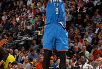 DENVER, CO - NOVEMBER 19:  Serge Ibaka #9 of the Oklahoma City Thunder takes a shot against the Denver Nuggets at Pepsi Center on November 19, 2014 in Denver, Colorado. NOTE TO USER: User expressly acknowledges and agrees that, by downloading and or using this photograph, User is consenting to the terms and conditions of the Getty Images License Agreement.  (Photo by Doug Pensinger/Getty Images)