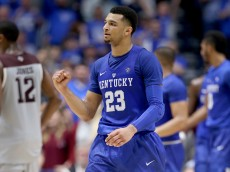 NASHVILLE, TN - MARCH 13:  Jamal Murray #23 of the Kentucky Wildcats celebrates during the 82-77 OT win over the Texas A&M Aggies in the Championship Game of the SEC Basketball Tournament at Bridgestone Arena on March 13, 2016 in Nashville, Tennessee.  (Photo by Andy Lyons/Getty Images)