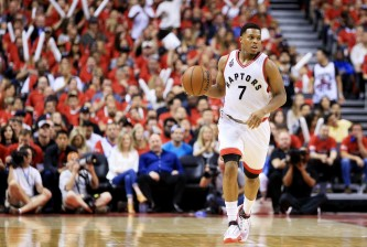 TORONTO, ON - MAY 27:  Kyle Lowry #7 of the Toronto Raptors controls the ball in game six of the Eastern Conference Finals against the Cleveland Cavaliers during the 2016 NBA Playoffs at Air Canada Centre on May 27, 2016 in Toronto, Canada. NOTE TO USER: User expressly acknowledges and agrees that, by downloading and or using this photograph, User is consenting to the terms and conditions of the Getty Images License Agreement.  (Photo by Vaughn Ridley/Getty Images)