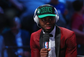 NEW YORK, NY - JUNE 23:  Jaylen Brown is interviewed after being drafted third overall by the Boston Celtics in the first round of the 2016 NBA Draft at the Barclays Center on June 23, 2016 in the Brooklyn borough of New York City. NOTE TO USER: User expressly acknowledges and agrees that, by downloading and or using this photograph, User is consenting to the terms and conditions of the Getty Images License Agreement.  (Photo by Mike Stobe/Getty Images)