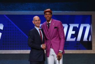 NEW YORK, NY - JUNE 23: Skal Labissiere shakes hands with Commissioner Adam Silver after being drafted 28th overall by the Phoenix Suns in the first round of the 2016 NBA Draft at the Barclays Center on June 23, 2016 in the Brooklyn borough of New York City. NOTE TO USER: User expressly acknowledges and agrees that, by downloading and or using this photograph, User is consenting to the terms and conditions of the Getty Images License Agreement.(Photo by Mike Stobe/Getty Images)