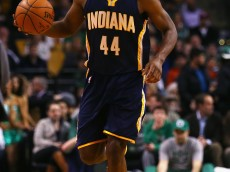 BOSTON, MA - APRIL 01:  Solomon Hill #44 of the Indiana Pacers carries the ball down court during the first quarter against the Boston Celtics  at TD Garden on April 1, 2015 in Boston, Massachusetts. NOTE TO USER: User expressly acknowledges and agrees that, by downloading and/or using this photograph, user is consenting to the terms and conditions of the Getty Images License Agreement.  (Photo by Maddie Meyer/Getty Images)