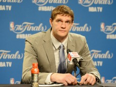 CLEVELAND, OH - JUNE 11:  Timofey Mozgov #20 of the Cleveland Cavaliers speaks to the media after Game Four of the 2015 NBA Finals against the Golden State Warriors at Quicken Loans Arena on June 11, 2015 in Cleveland, Ohio.  NOTE TO USER: User expressly acknowledges and agrees that, by downloading and or using this photograph, user is consenting to the terms and conditions of Getty Images License Agreement.  (Photo by Jason Miller/Getty Images)
